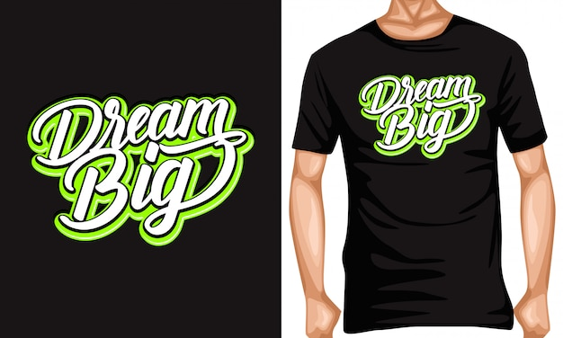 Dream big lettering typography quotes