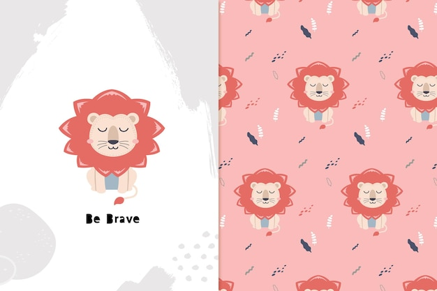 Dream big lion and seamless pattern