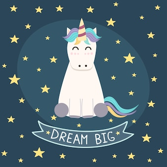 Dream big poster, greeting card with cute unicorn.