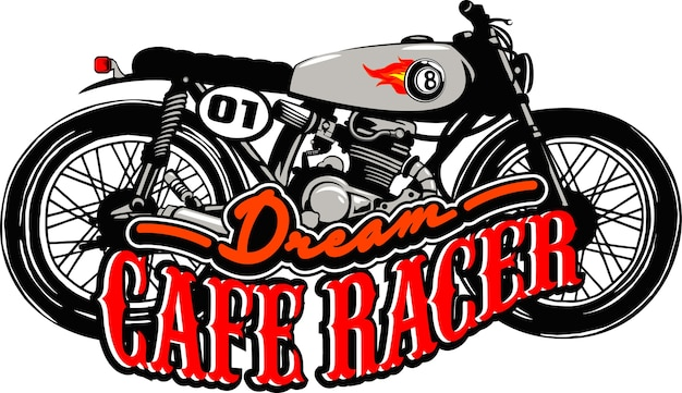 Dream cafe' race motorcycle illustration vector