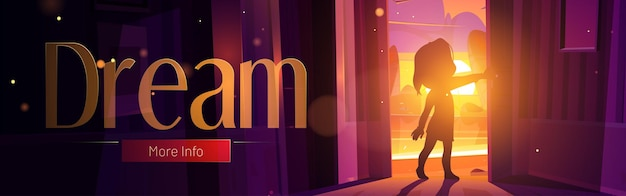 Dream cartoon web banner with child open door