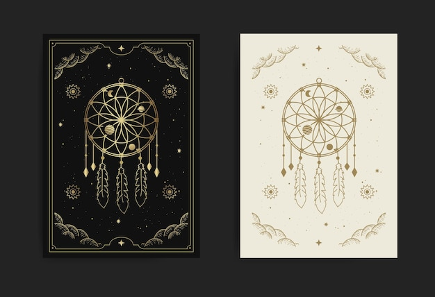 A dream catcher card with engraving, esoteric, boho, spiritual, geometric, astrology, magic themes, for tarot reader card