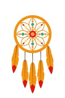 깃털과 흰색 라운드 장식에 고립 된 드림 캐처 장식 디자인