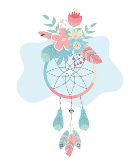 Dream catcher hanging with flowers boho style
