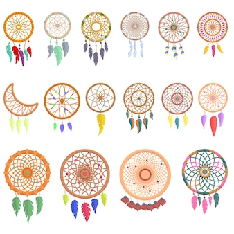 Dream catcher icons set.  dream catcher  icons