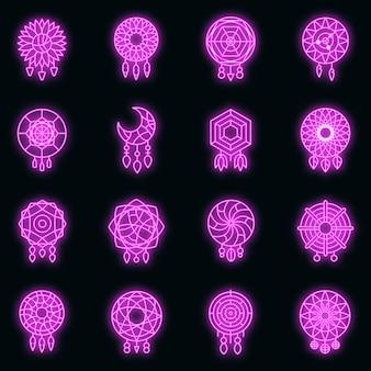 Dream catcher icons set. outline set of dream catcher vector icons neon color on black