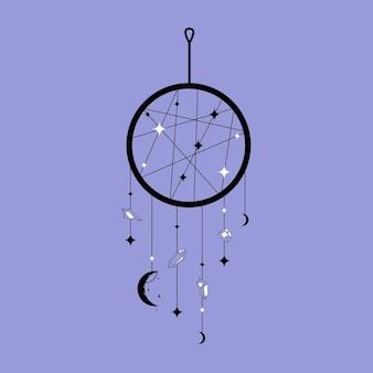 Ловец снов в модном стиле со звездами и луной