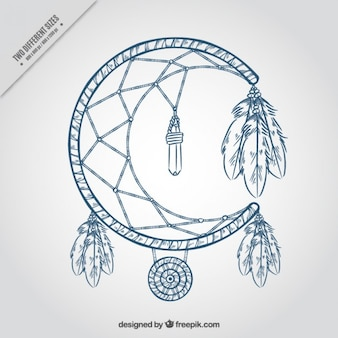 Dream catcher moon shaped background