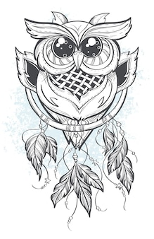 Dream catcher outline with owl feathers