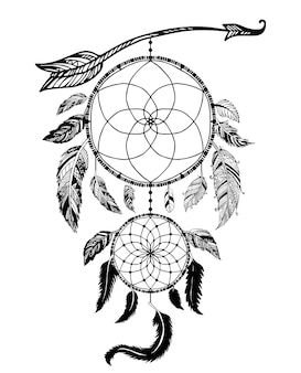 Dream catcher with arrow and feathers hand drawn vector.