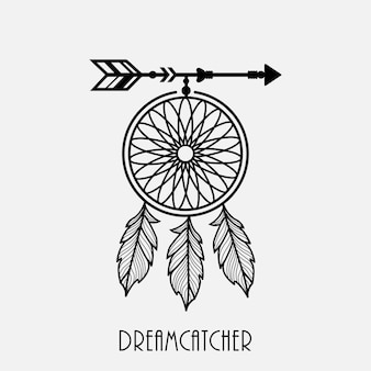 Dream catcher with arrow and feathers hand drawn