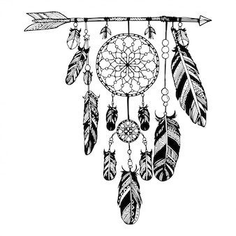 Dream catcher with arrows and feathers
