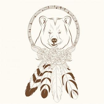 곰 깃털 hipster와 드림 캐처