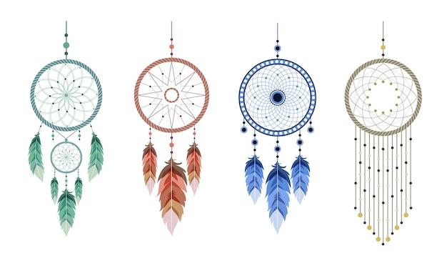 만다라와 깃털을 가진 꿈의 포수. 인도 마스코트 세트입니다.
