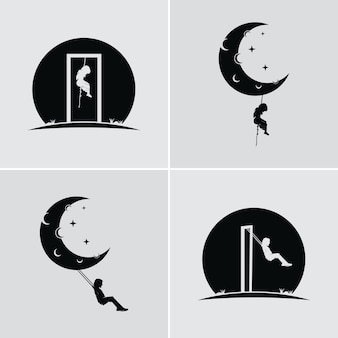 Dream of a child swinging and hanging on the moon