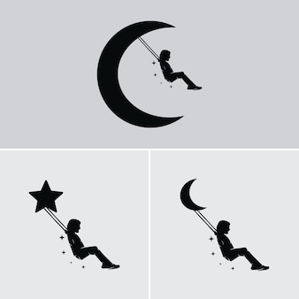 Dream of a child swinging on the moon and stars