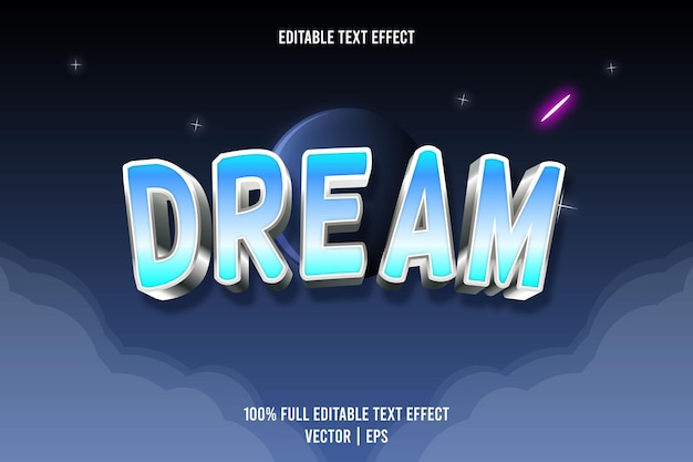 Dream editable text effect 3 dimension emboss luxury style