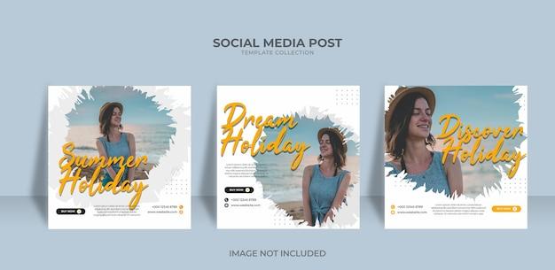 Праздник мечты путешествия в социальных сетях разместить веб-баннер premium векторы