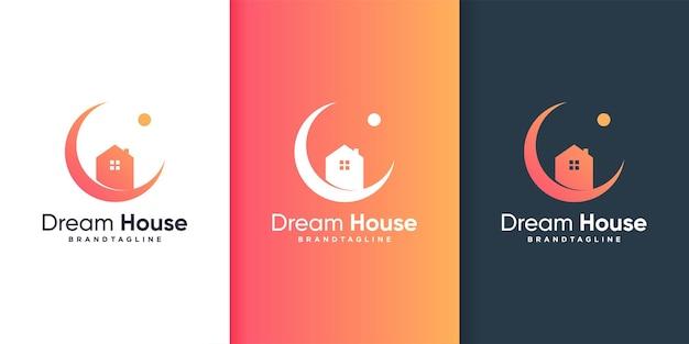 創造的なモダンなコンセプトのプレミアムベクトルと夢の家のロゴのテンプレート