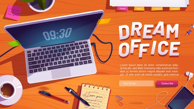 Dream office website with top view of workspace