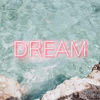 Dream pink neon word vector typography