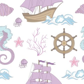 Dream ship ocean cruise seamless pattern
