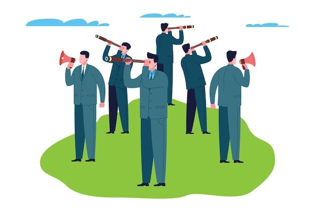 Концепция команды мечты. группа деловых людей держит в руках громкоговорители и телескопы, в процессе работы ищет новые идеи, проекты для бизнеса и инвестиций, занимается маркетингом.