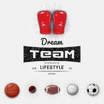 Dream team insignia  and labels sports