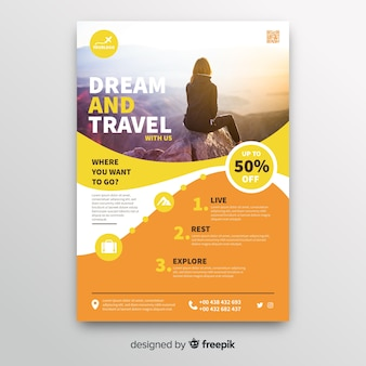 Dream and travel flyer template with photo