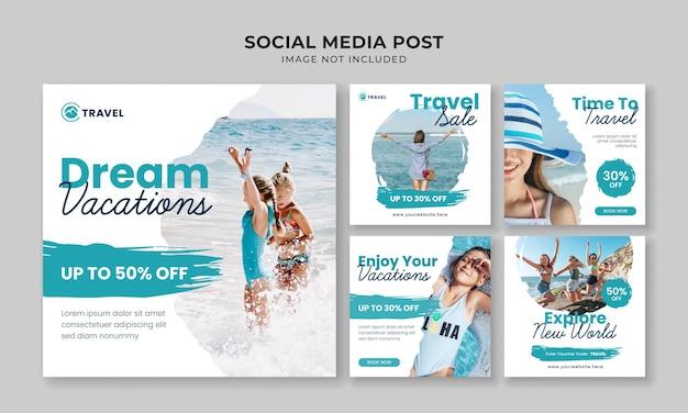 夢の休暇ソーシャルメディアinstagramの投稿テンプレート