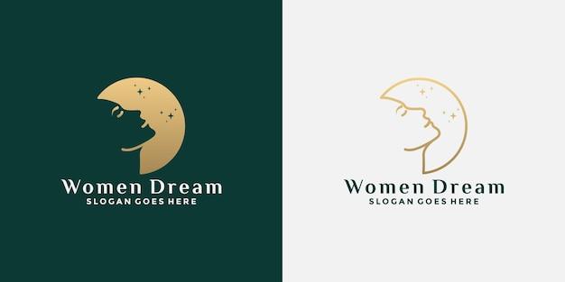 Дизайн логотипа женщины мечты с лицом женщины и луной