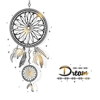 Dreamcatcher фон с золотыми вставками