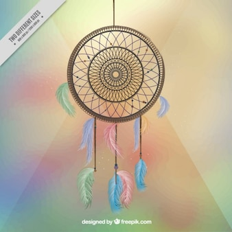 Dreamcatcher on colorful background with light effects