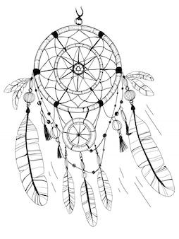 드림 캐쳐, 깃털과 구슬. 색칠 페이지 그리기