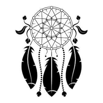 드림캐쳐, 깃털과 구슬. 아메리카 원주민 인디언 드림 캐처, 전통적인 상징