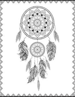 Ловец снов в рамке с нарисованными от руки перьями