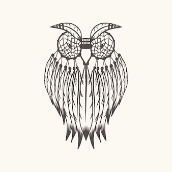 Dreamcatcher owl vector illustration