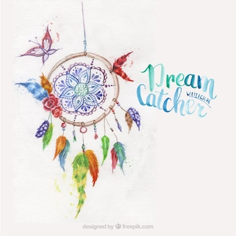 Dreamcatcher painted with watercolors