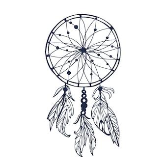 Ловец снов с перьями и луной векторные иллюстрации битник, изолированные на белом этническом дизайне