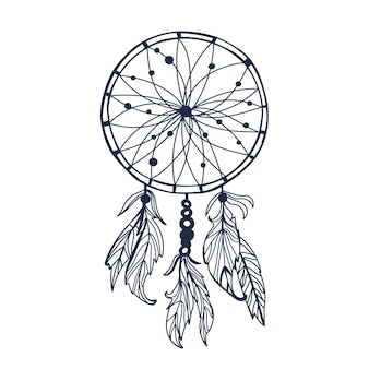 Dreamcatcher with feathers and moon vector hipster illustration isolated on white ethnic design