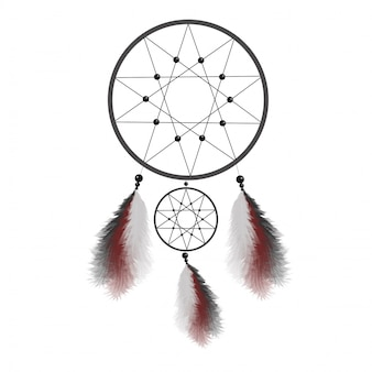 Dreamcatcher with feathers. native american indian talisman