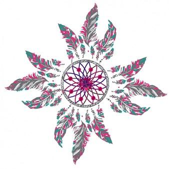 Цветное dreamcatcher дизайн