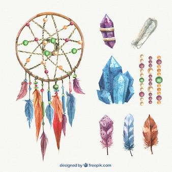 Акварели dreamcatcher с драгоценными камнями