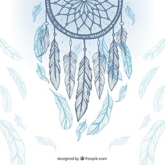 Этническое происхождение с dreamcatcher и перьев