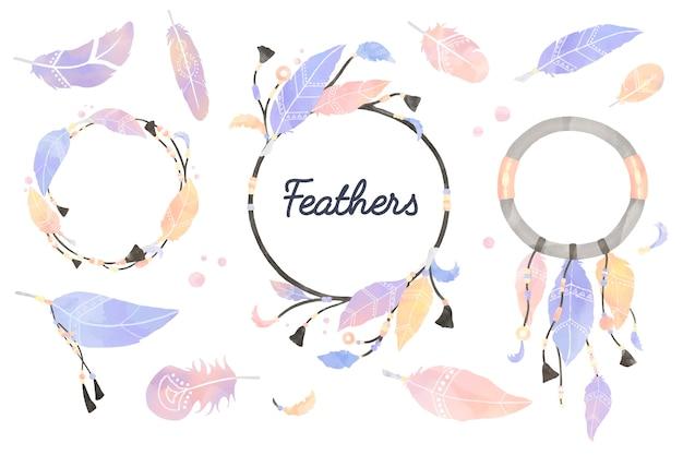 羽毛で飾られたdreamcatcherのイラスト
