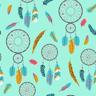 ドリームキャッチャーの羽とシームレスなパターン。ベクトルグラフィックス。