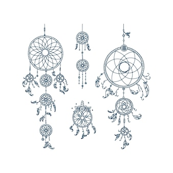 Dreamcatchers with tribal feathers set of spiritual dreamcatchers