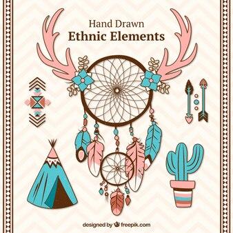 手描きdreamcatchersと民族のオブジェクト