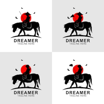 Dreamer silhouette riding horse logo at sunset