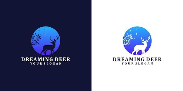 夢見る鹿のロゴデザインテンプレート